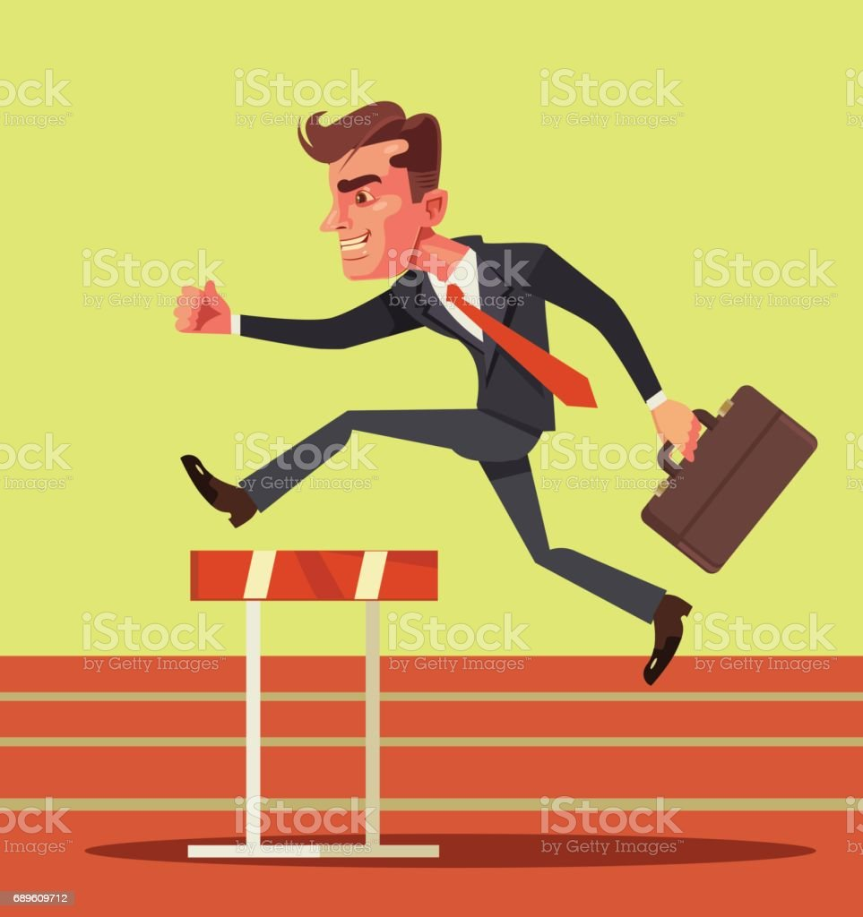 Happy smiling businessman character jumping over hurdle obstacles vector art illustration