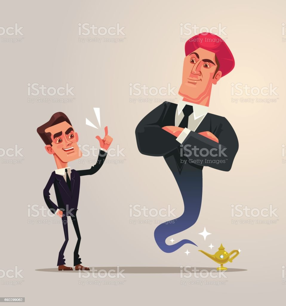 Happy smiling businessman office worker and business gin characters vector art illustration
