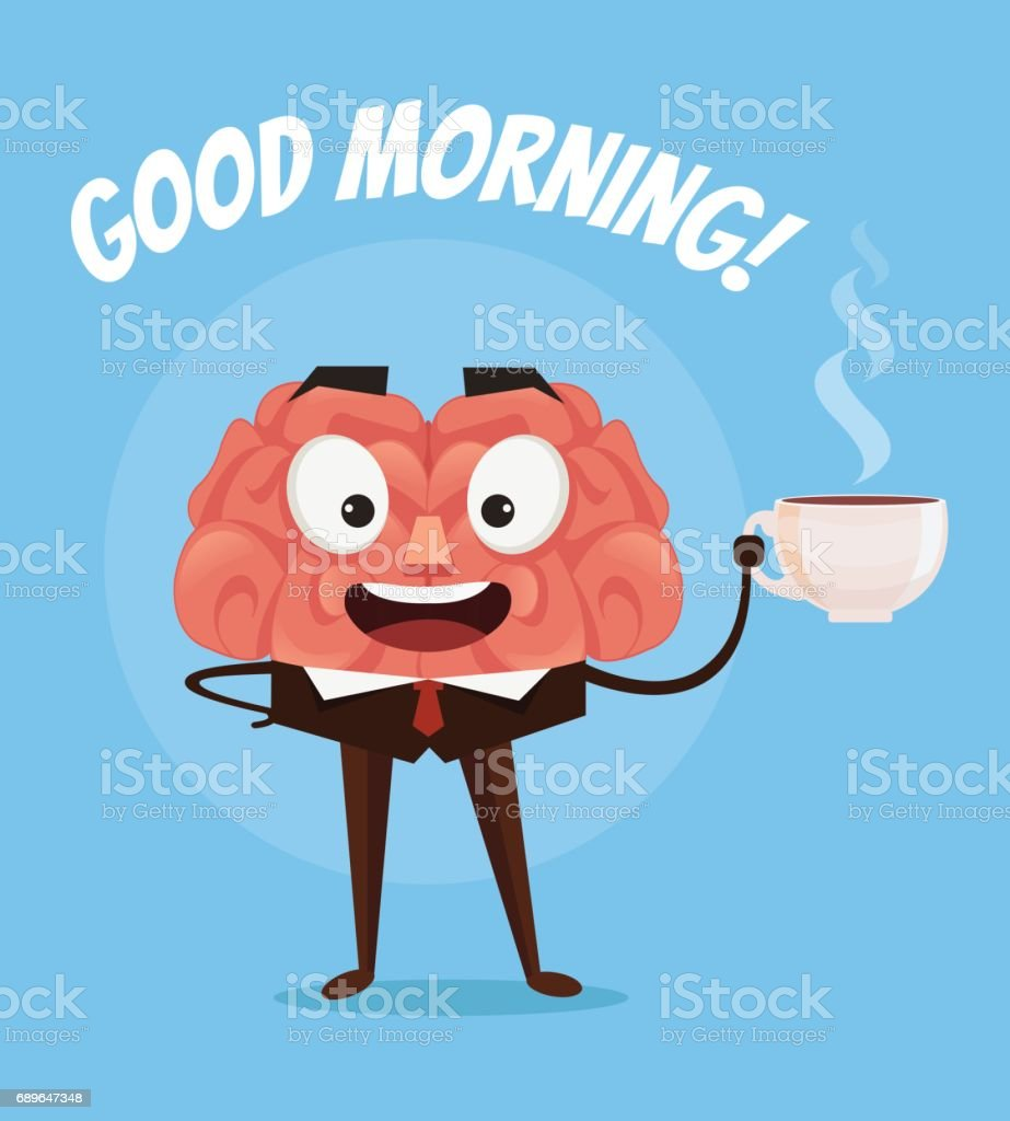 Happy smiling businessman office worker brain character dink fresh coffee. Good morning vector art illustration
