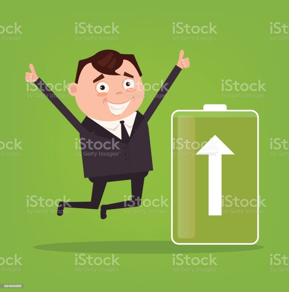 Happy smiling businessman office worker character full of energy. Green battery vector art illustration