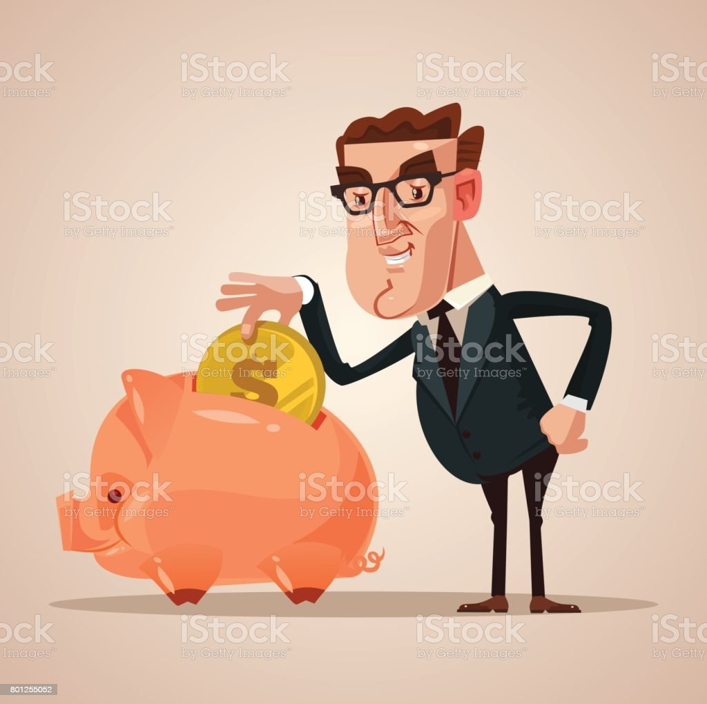 Happy smiling businessman office worker character put gold coin in piggy bank. Successful business concept vector art illustration