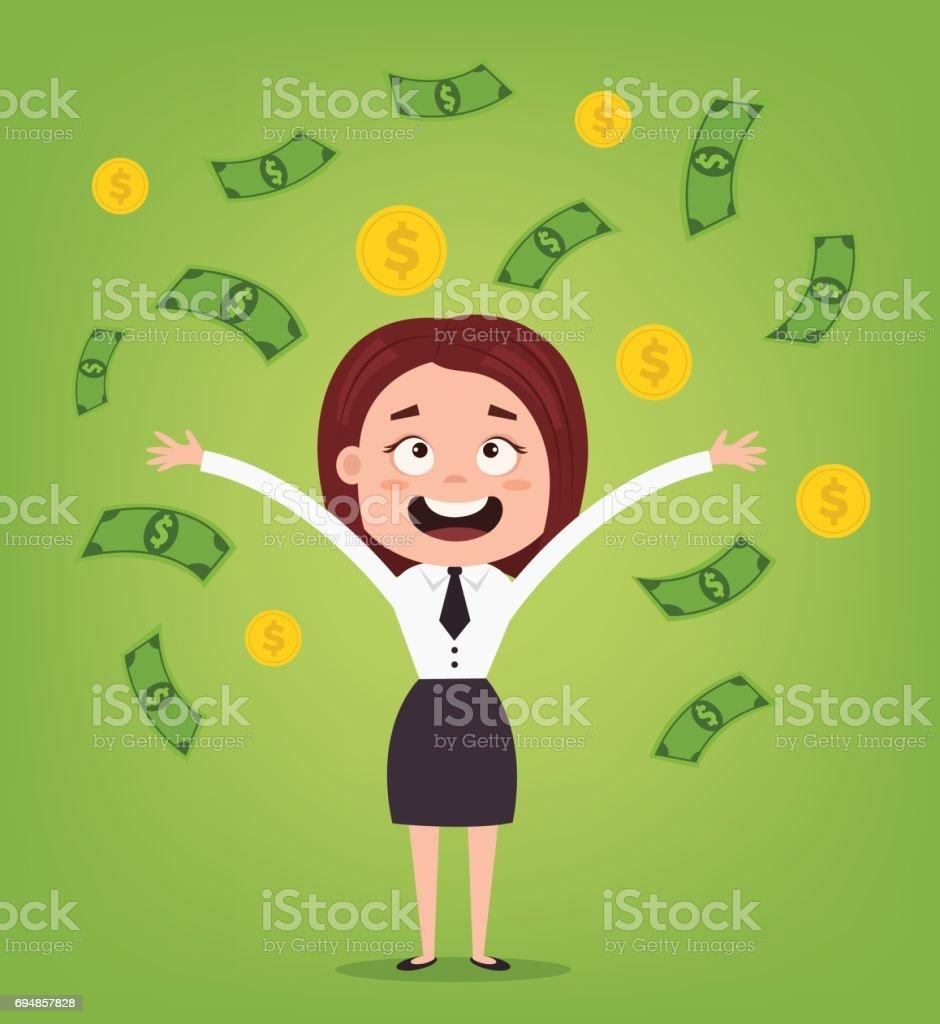 Happy smiling businessman office worker character standing under money rain. Rich man. Good salary vector art illustration