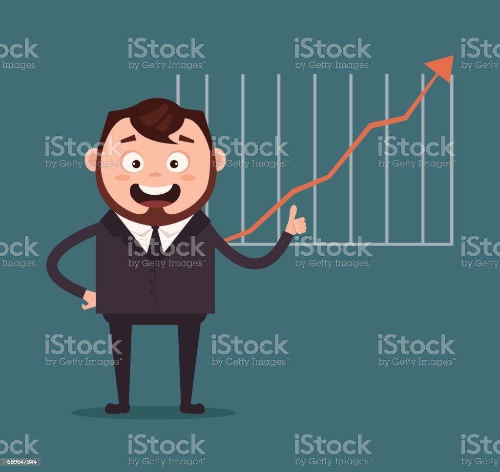 Happy smiling businessman office worker man character making presentation. Graph up vector art illustration