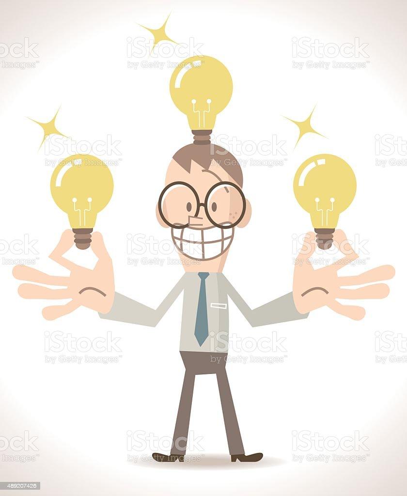 Happy Smiling Businessman with many (ideas) idea light bulbs vector art illustration