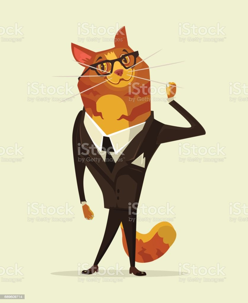 Happy smiling cat businessman office worker manager character vector art illustration