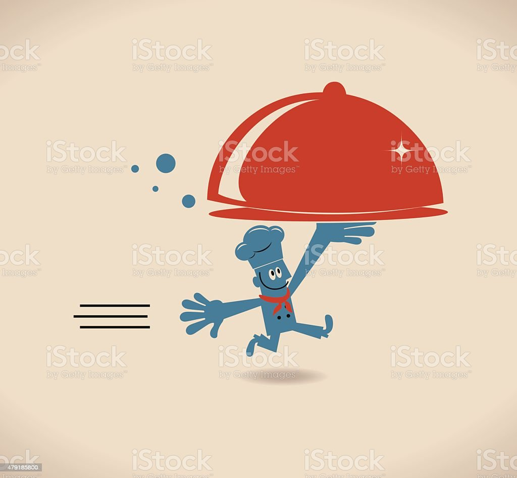 Happy smiling chef serving meal in a dome plate cover vector art illustration