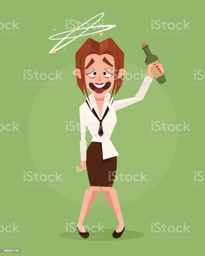 Happy smiling drunk business woman office worker character vector art illustration