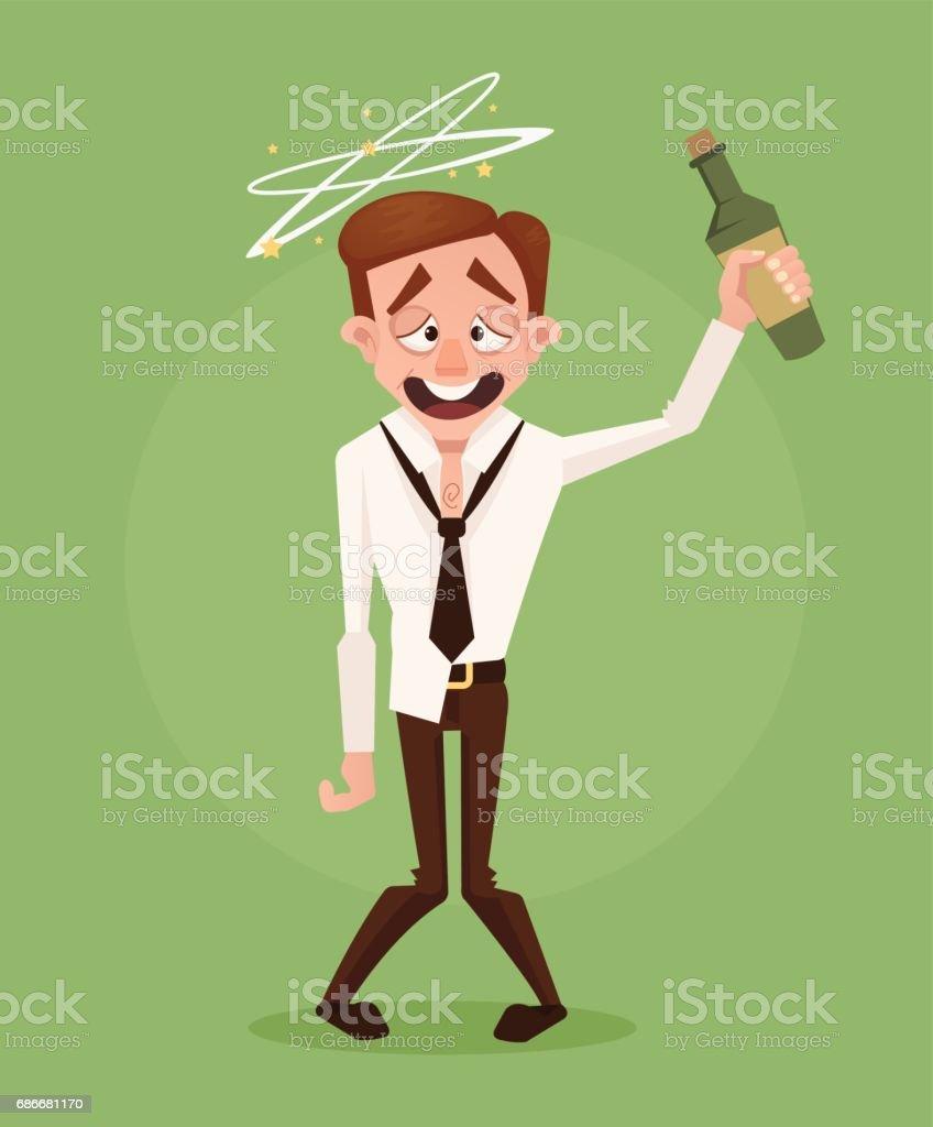 Happy smiling drunk businessman office worker character vector art illustration