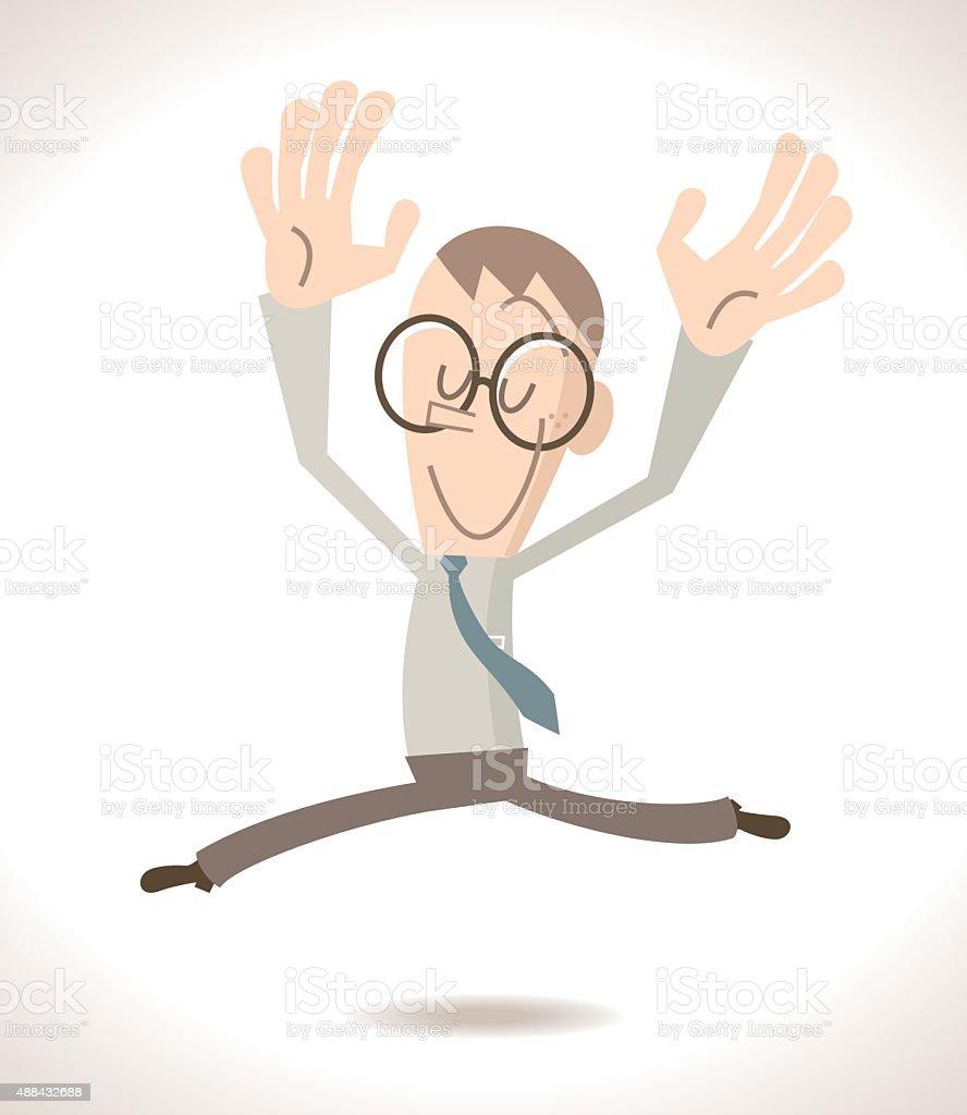 Happy Smiling Full length Businessman (Ballet Dancer) Dancing Jumping vector art illustration