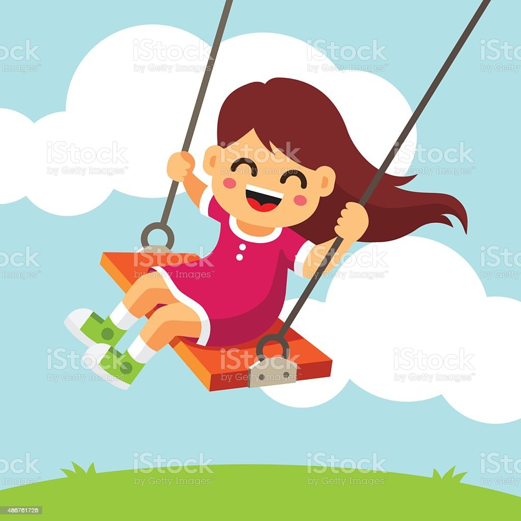 Happy smiling girl kid swinging on a swing vector art illustration