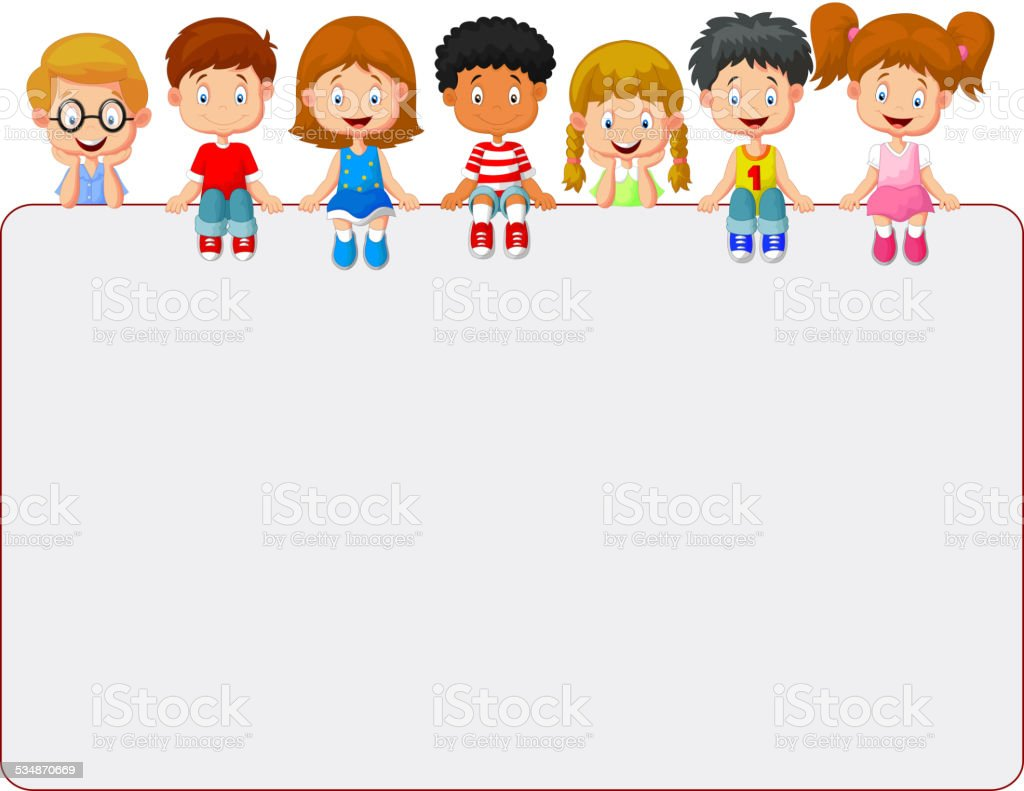 Happy smiling group of kids showing blank placard board vector art illustration