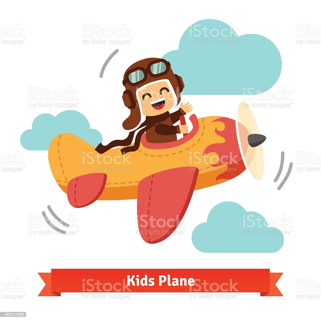 Happy smiling kid flying plane like a real pilot vector art illustration