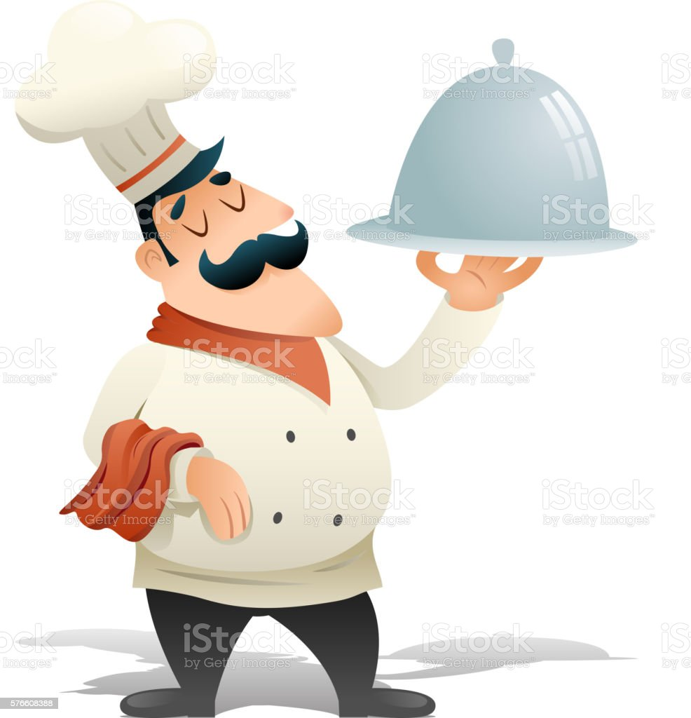 Happy Smiling Male Chief Cook Serving Dish Symbol Food Icon vector art illustration