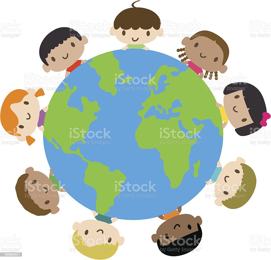 Happy smiling multicultural kids around the world vector art illustration