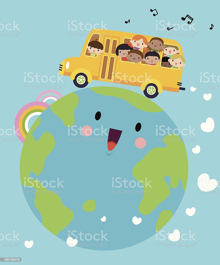 Happy Smiling Multicultural Kids On School Bus vector art illustration