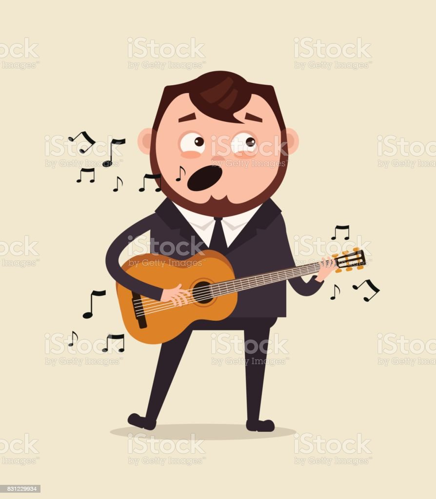 Happy smiling office worker businessman character sing song and play guitar on corporate event in club vector art illustration