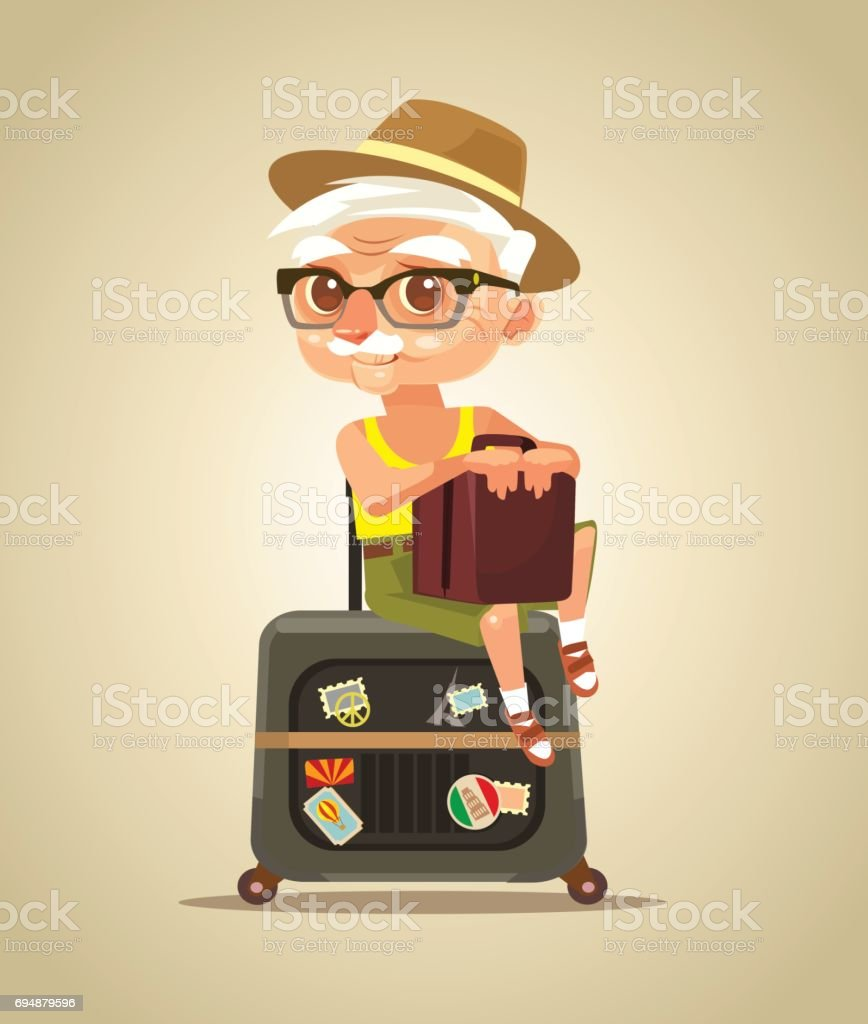 Happy smiling old tourist grandfather character sitting on bags vector art illustration