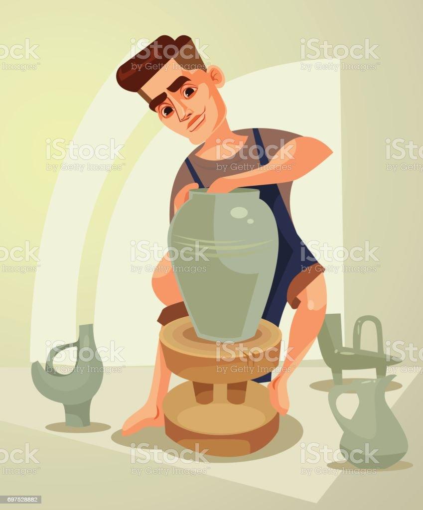 Happy smiling potter character makes clay pot vector art illustration