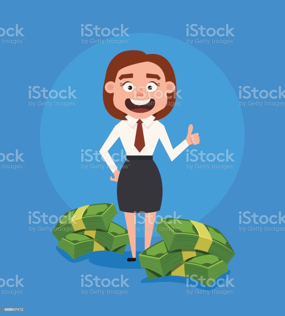 Happy smiling rich business woman office worker character standing near pile of money vector art illustration