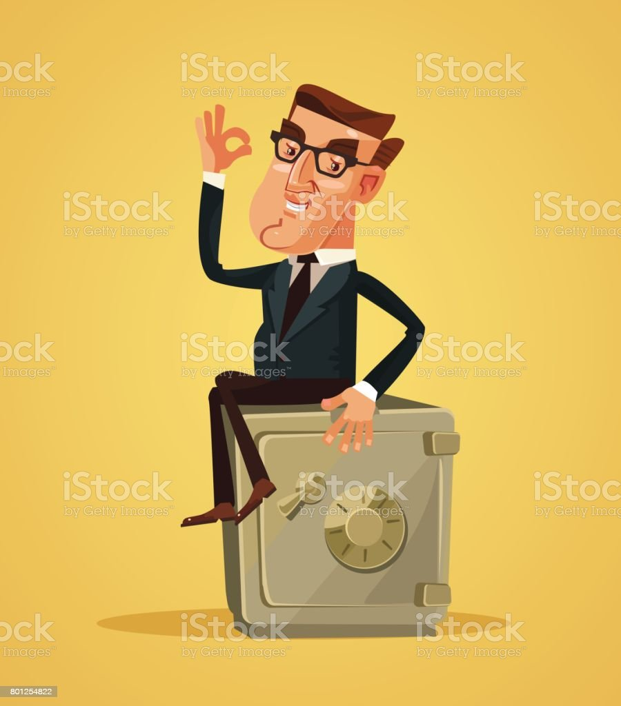 Happy smiling rich businessman office worker character sitting on safe box and showing ok hand sign vector art illustration