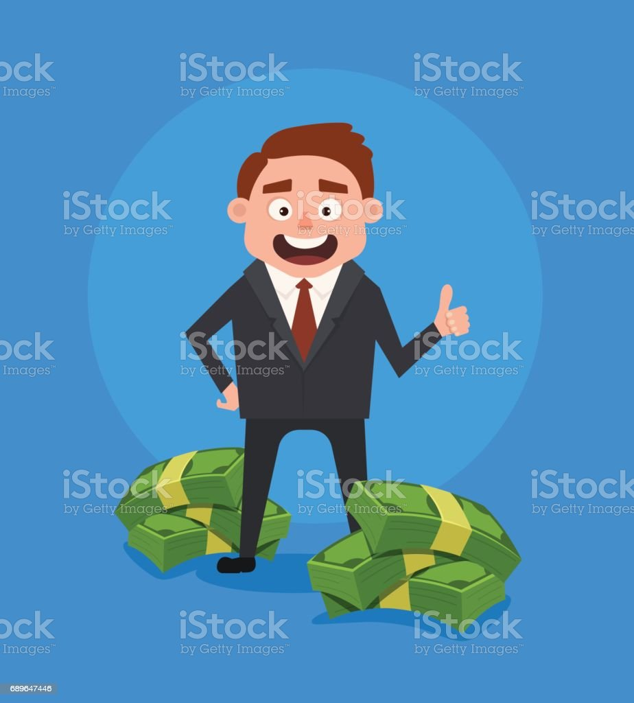 Happy smiling rich businessman office worker character standing near pile of money vector art illustration