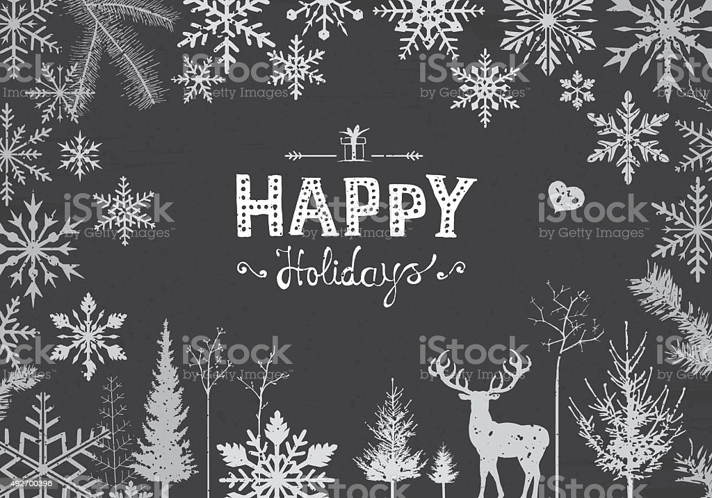 Happy snowflakes vector art illustration