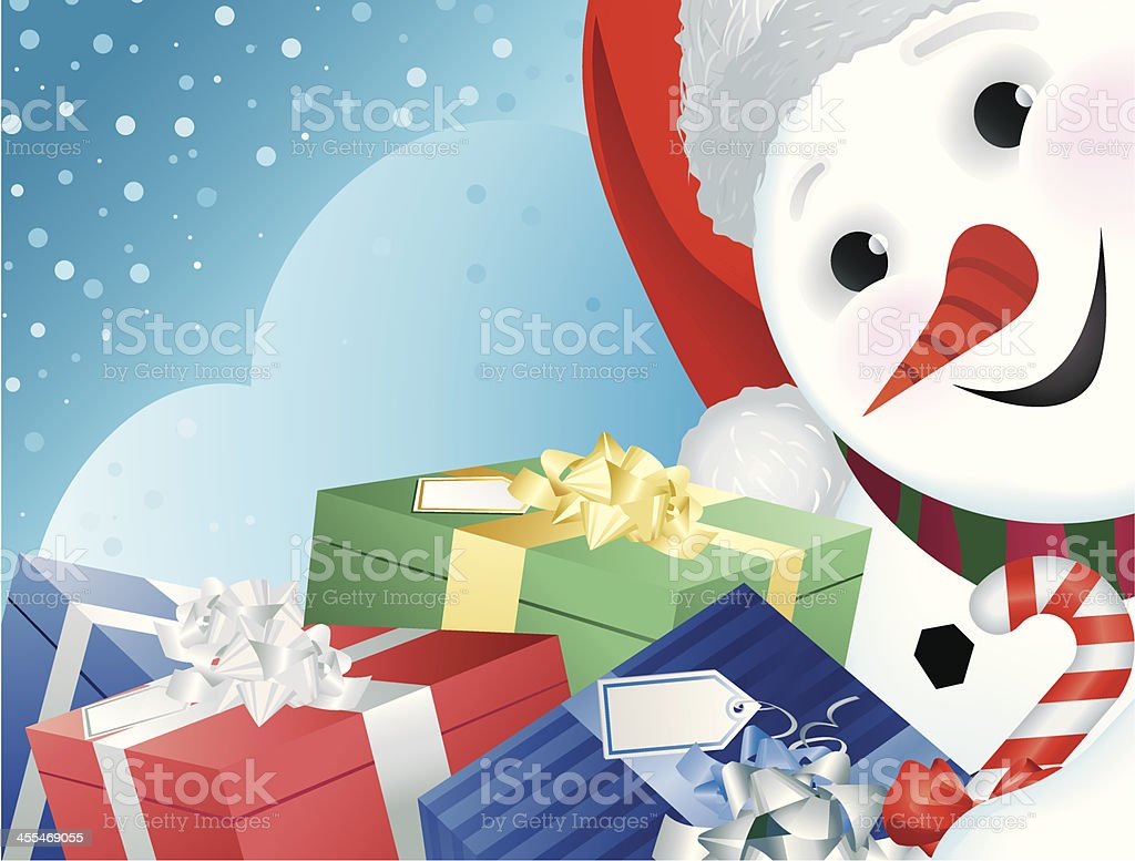 Happy Snowman and Christmas Gifts royalty-free stock vector art