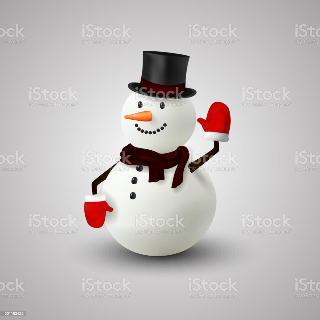 Happy snowman christmas vector art illustration