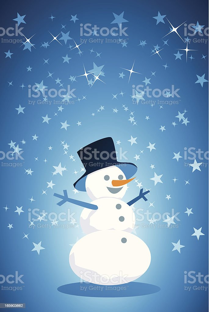 Happy snowman on star background royalty-free stock vector art