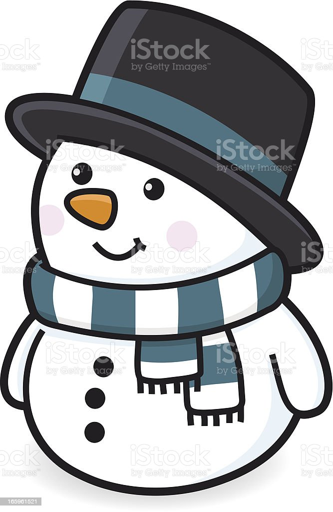 happy snowman with scarf and hat in winter / zylinder royalty-free stock vector art