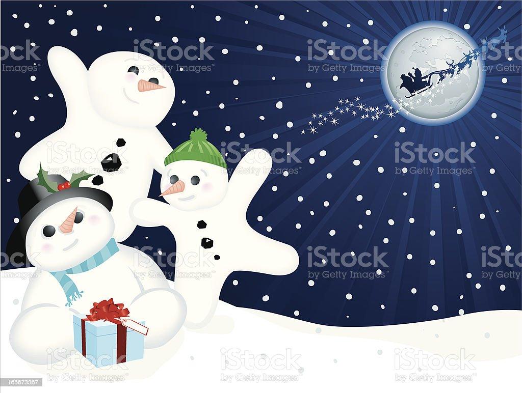Happy Snowmen Santa Christmas Gift Horizontal royalty-free stock vector art