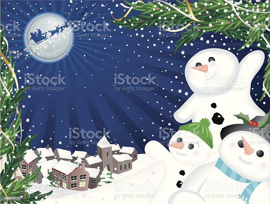 Happy Snowmen Santa Christmas Village Snow Scene Horizontal royalty-free stock vector art