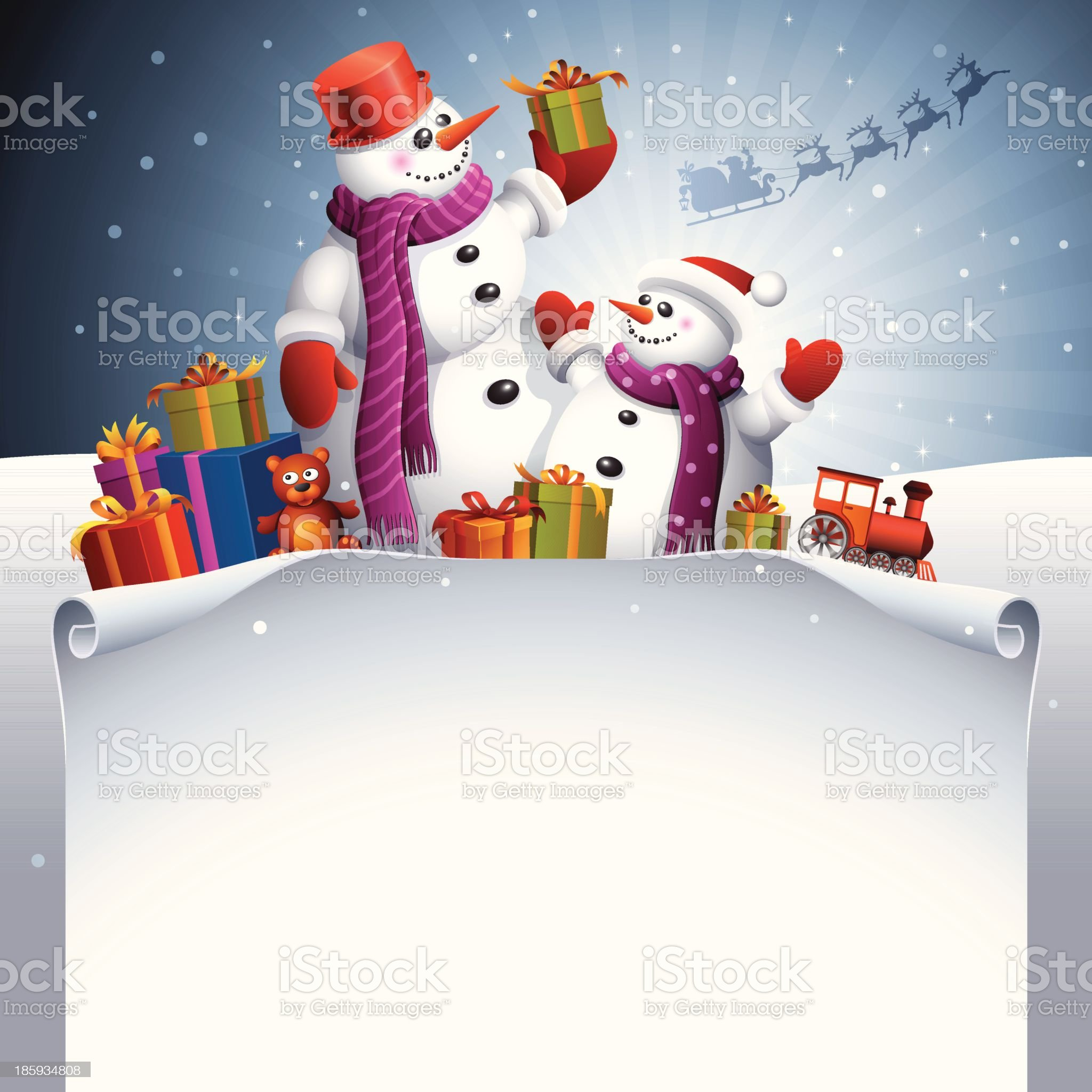 Happy Snowmen royalty-free stock vector art