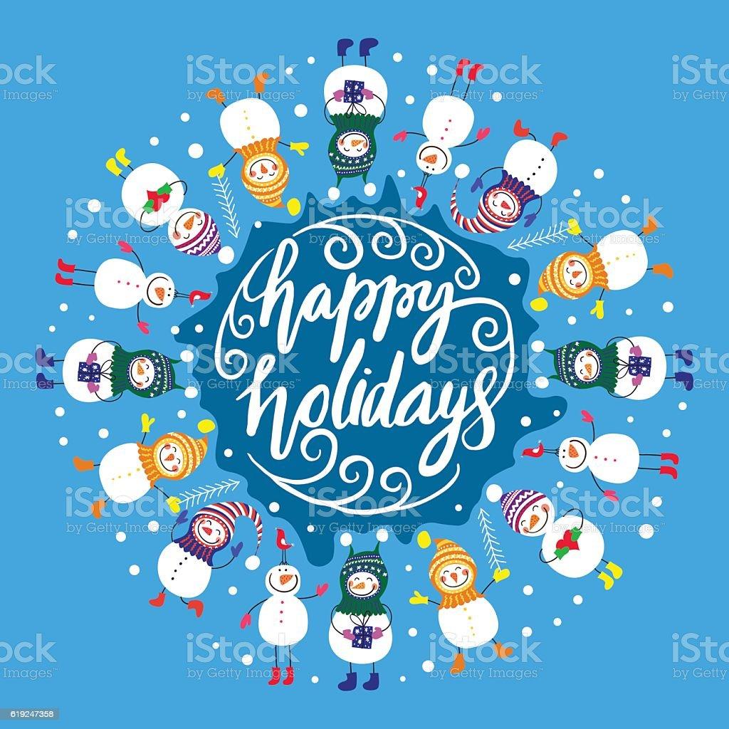 Happy snowmen.frame for text royalty-free stock vector art