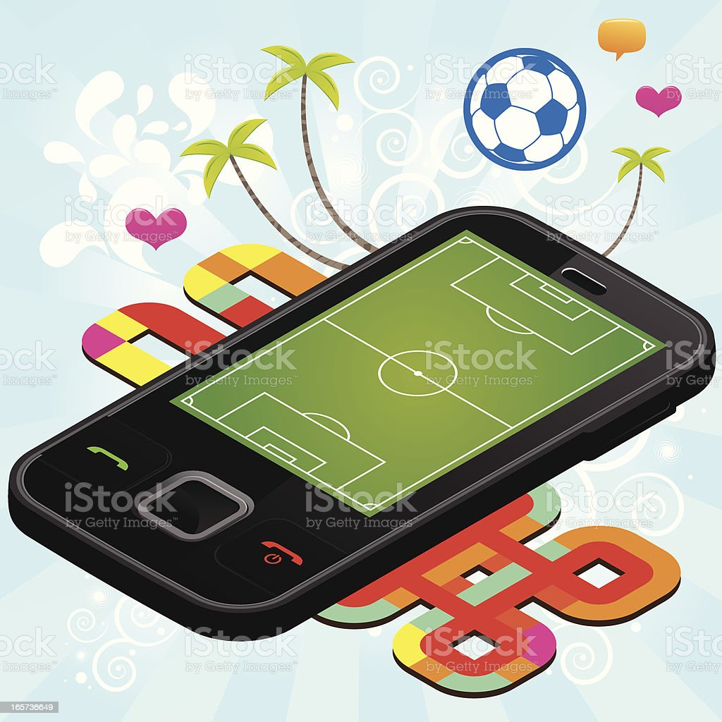 Happy soccer mobile phone royalty-free stock vector art