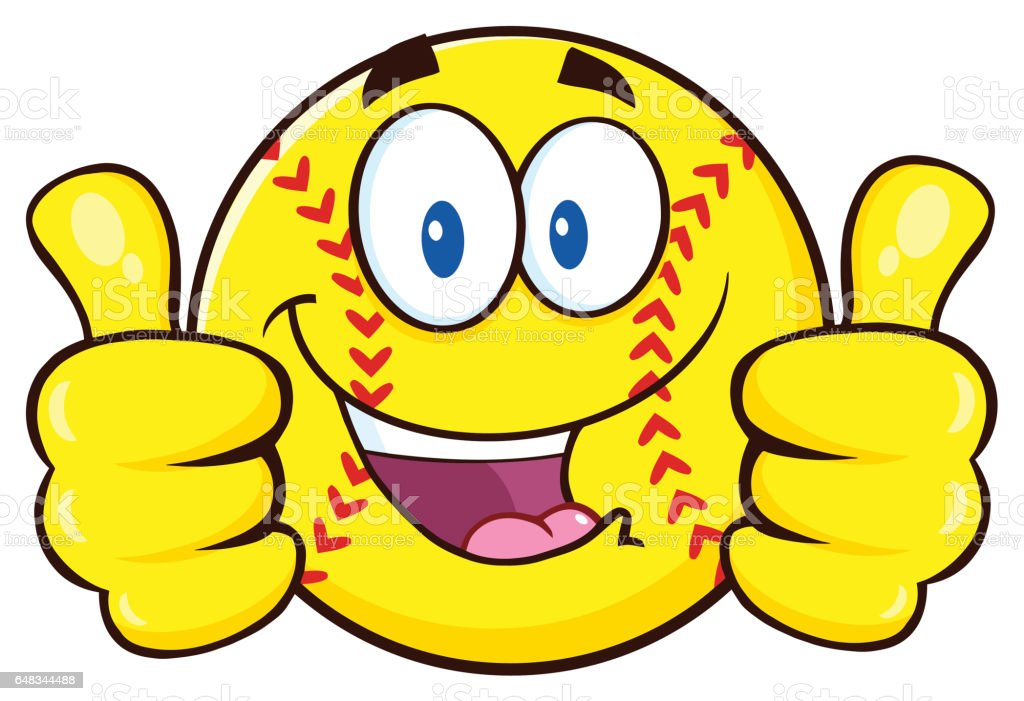 Happy Softball Cartoon Character Giving A Double Thumbs Up....