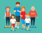 Happy sports family. Mom, dad, daughter, son, grandmother, grandfather. Flat