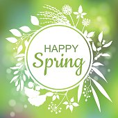 Happy Spring green card design with a textured abstract background