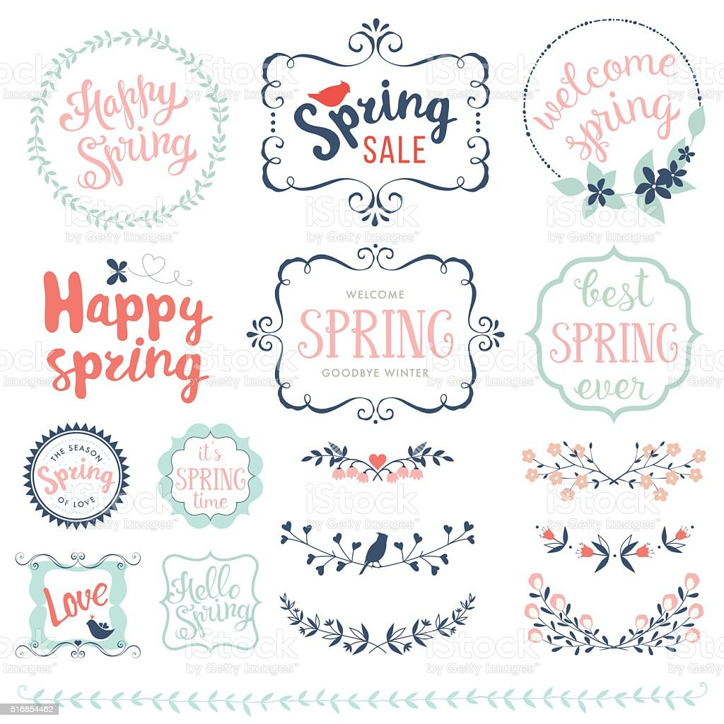 Happy Spring Set vector art illustration