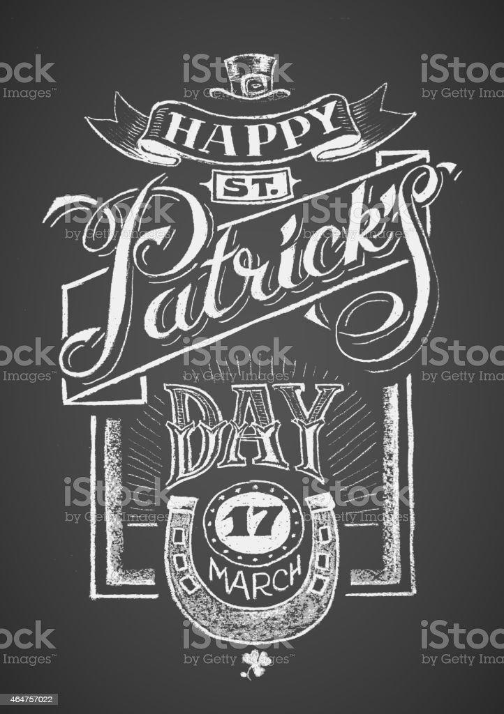 Happy St. Patrick's Day. Chalkboard vector art illustration