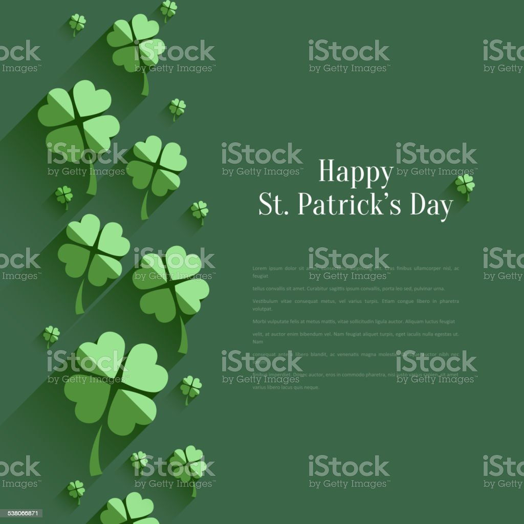 Happy St. Patrick`s Day - greeting card in flat style vector art illustration