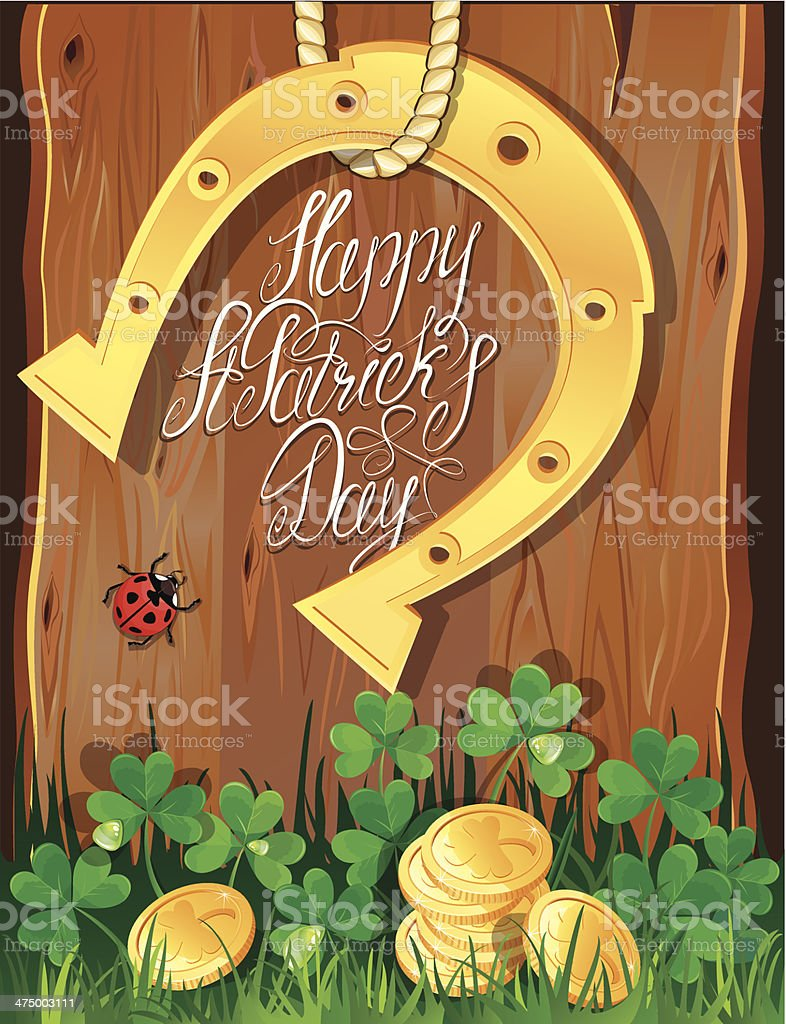 Happy St. Patrick`s Day. Shamrock, horseshoe and golden coin royalty-free stock vector art