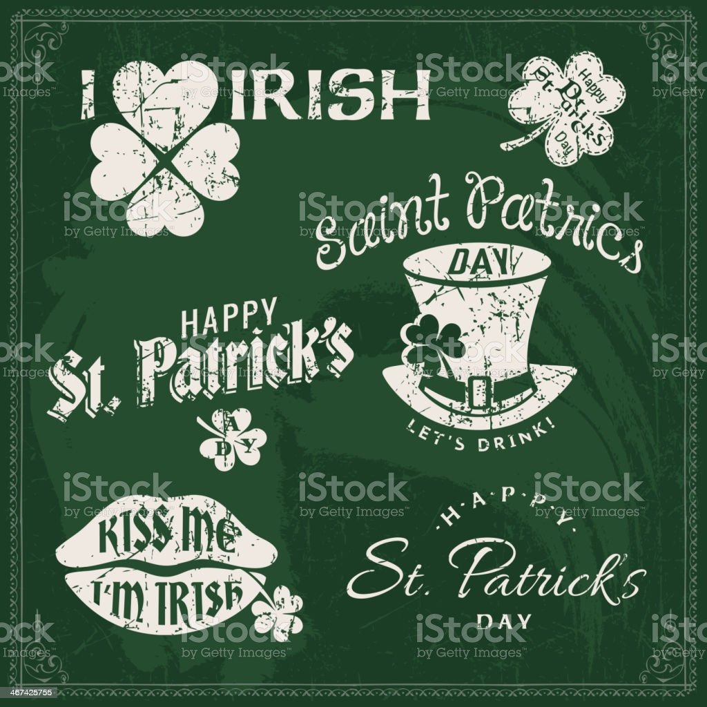 Happy St. Patrick's Day sign on a green blackboard vector art illustration