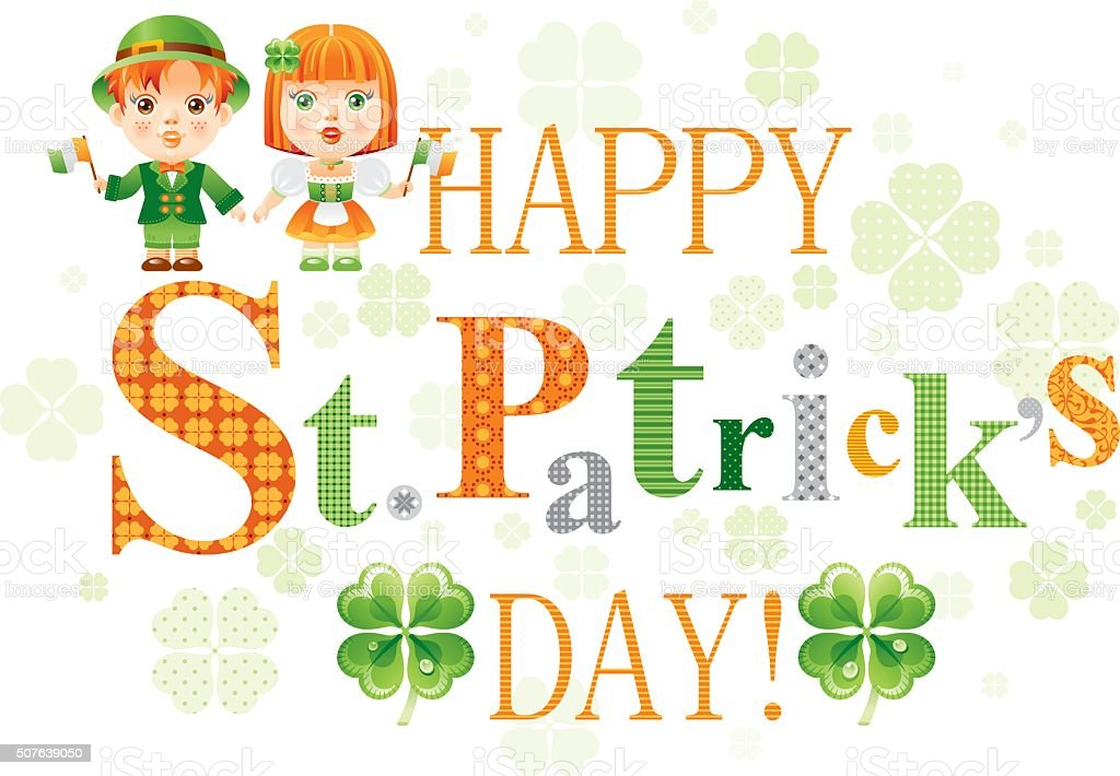 Happy St. Patrick's day with children in national Irish costumes vector art illustration