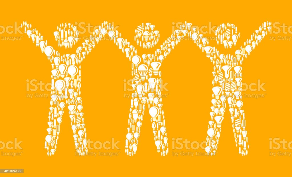 Happy Stick Figures on Vector Lightbulb Pattern Background vector art illustration