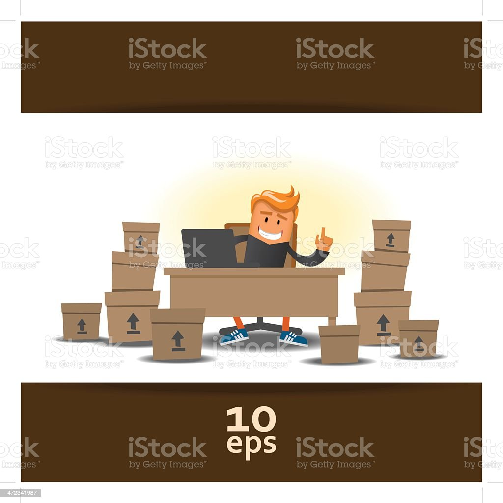 Happy storekeeper royalty-free stock vector art