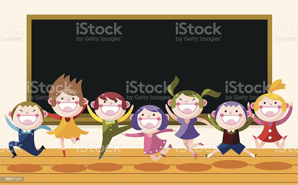 happy student in classroom vector art illustration