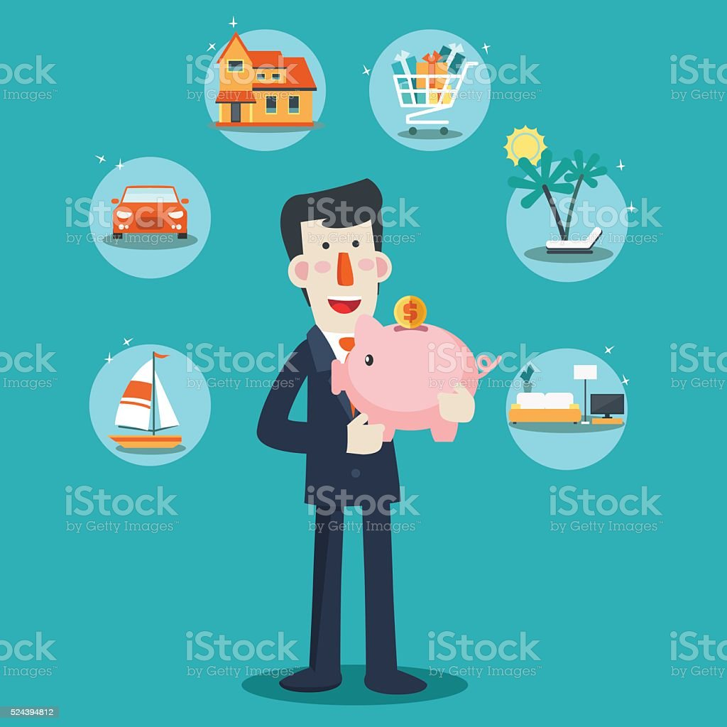 Happy, successful, smiling businessman with a piggy bank vector art illustration