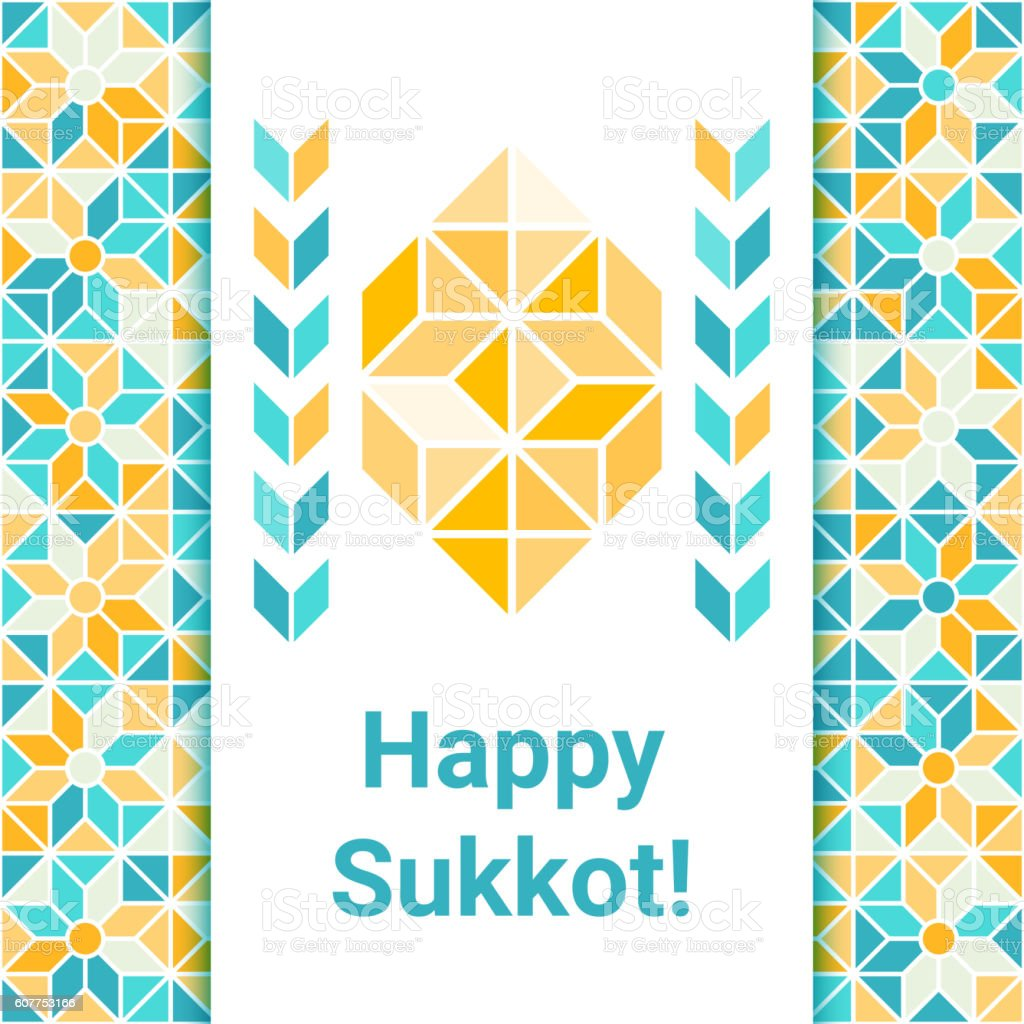 Happy Sukkot greeting card with etrog vector art illustration