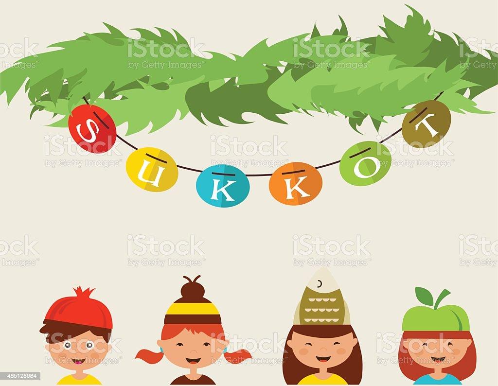 happy sukkot. kids with costume hats in traditional sukkah vector art illustration